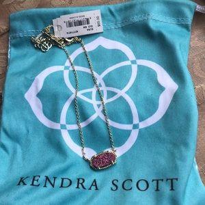 KENDRA SCOTT ELISA necklace w pink/magenta druzy.